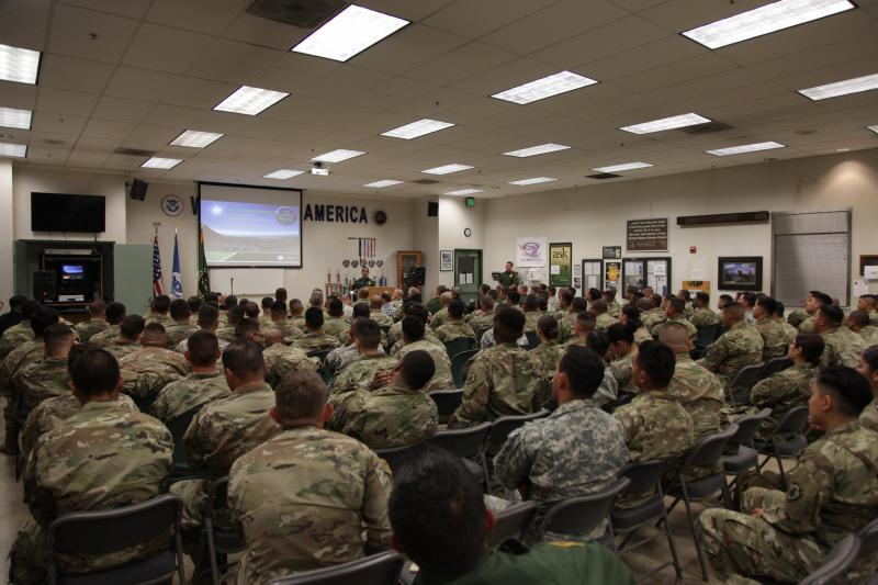 National Guard personnel received their Border Patrol briefing on May 9, 2018.
