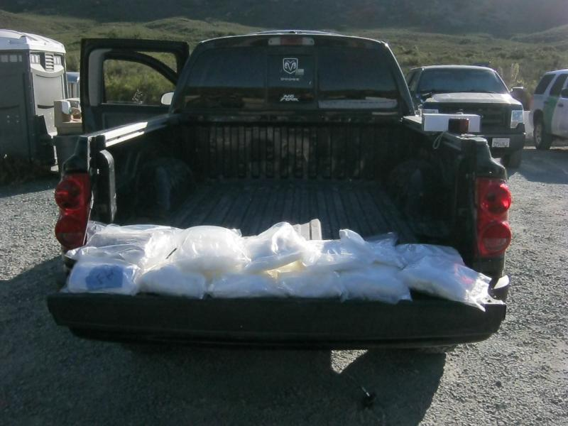 The agents discovered the narcotics inside the spare tire of a Dodge Dakota pickup truck.
