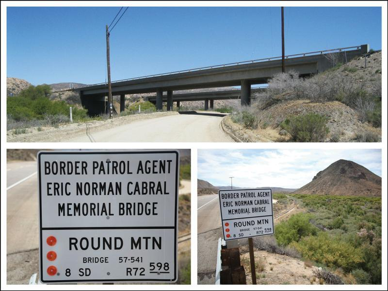Border Patrol Agent Eric Norman Cabral Memorial Bridge and signage
