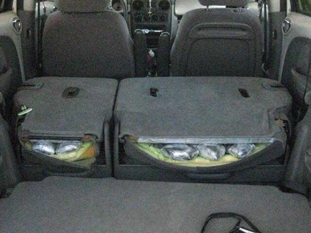 CBP officers found 16 pounds of meth stuffed in car seats.