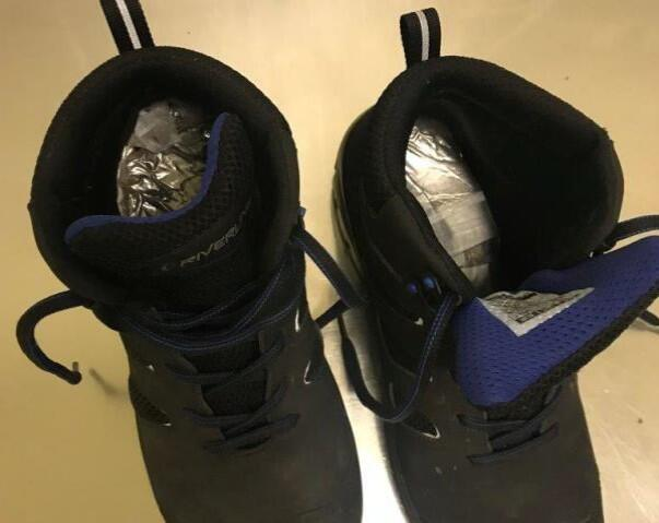 A smuggler attempted to hid heroin and cocaine inside his shoes and pants