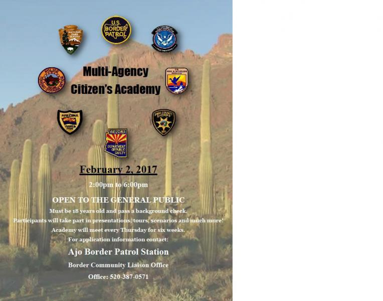 Various agencies are representing themselves within the upcoming Citizen's Academy in Ajo, Ariz.