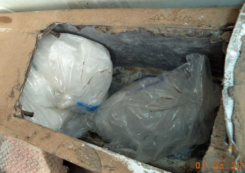 Smugglers attempted to hide more than 43 pounds of meth within the rear bumper of a smuggling vehicle