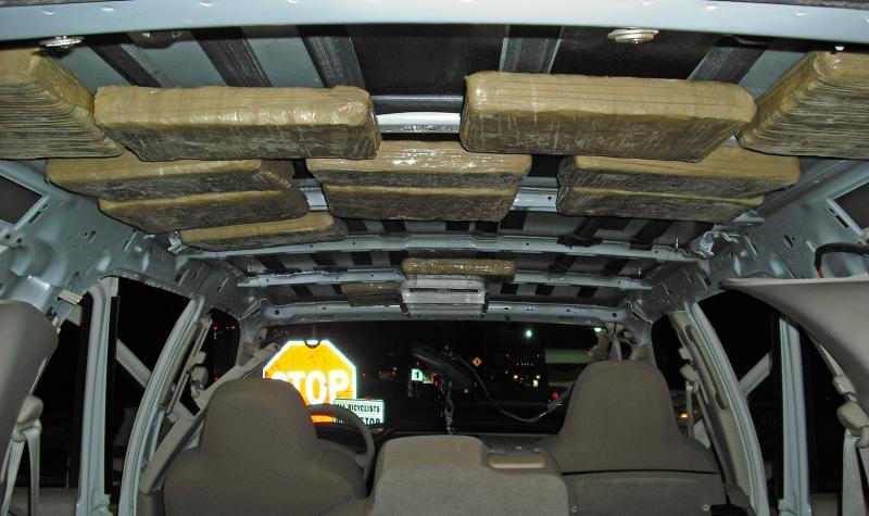 Border Patrol agents at the Interstate 19 traffic checkpoint seized $35,000 worth of marijuana from the headliner of smuggling vehicle