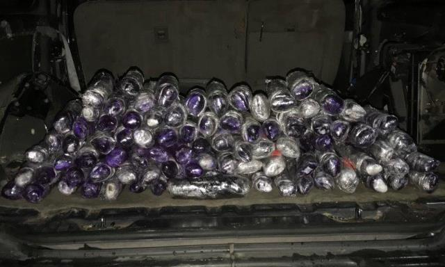 Officers seized 96 pounds of meth from throughout a drug smuggling vehicle