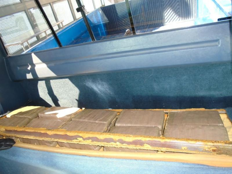 CBP officers found 100 packages of marijuana within the seats of a truck referred for further inspection at the Port of Naco