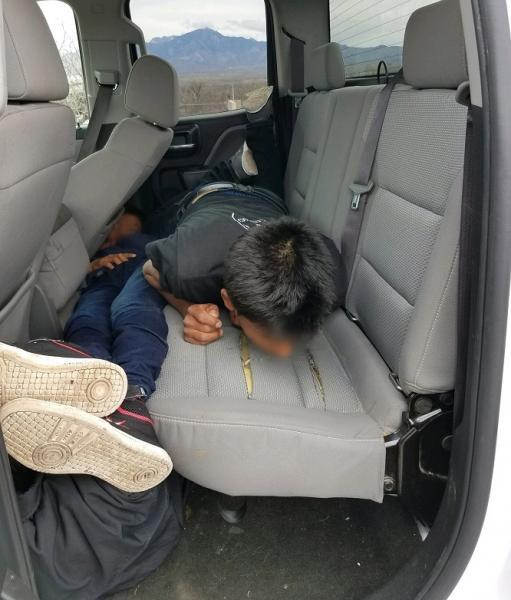 Agents at the I-19 immigration checkpoint discoveed three persons in the backseat area of a vehicle being inspected