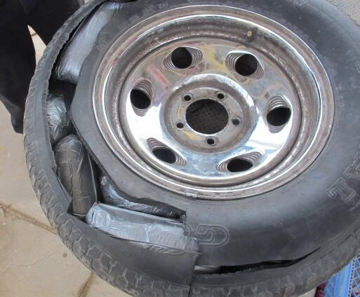 When CBP officers opened the spare tire of a smuggling vehicle, they found 30 packages of meth worth $103K