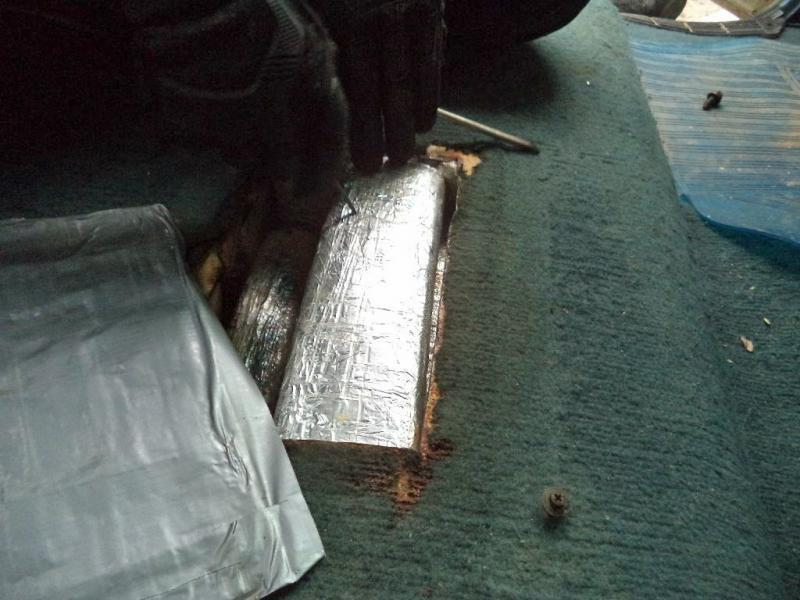 CBP officers at the Port of Douglas located a compartment underneath the bench seat, where they removed nearly 64 pounds of marijuana