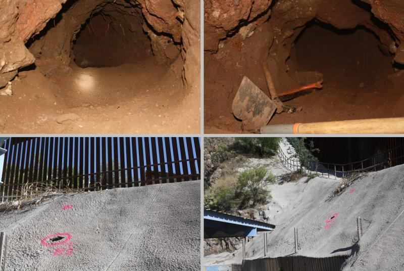 An incomplete tunnel that begins in the neighboring community of Nogales, Sonora, Mexico, east of the Morley Port of Entry