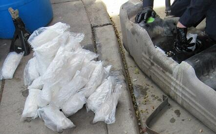 Officers removed nearly 75 pounds of meth from a smuggling vehicle
