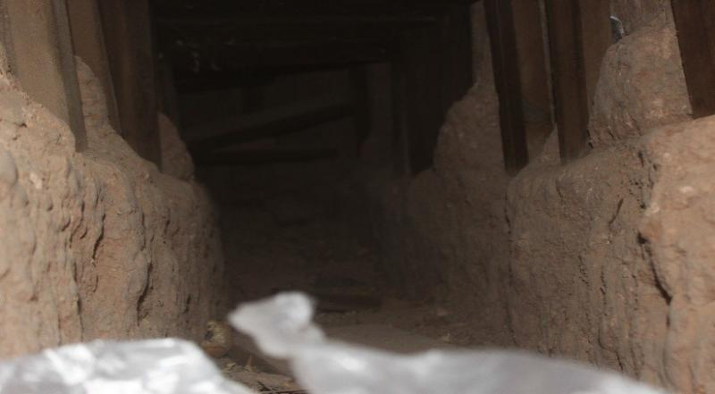 An incomplete border tunnel was uncovered by construction workers at the border fence.