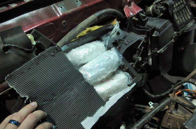 CBP officers assigned to the Port of San Luis located and seized 43 pounds of meth from inside the heater core of a smuggling vehicle