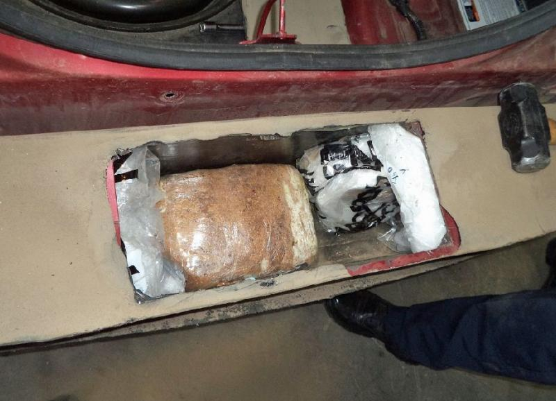 CBP officers at the Port of Nogales located and seized 46 pounds of meth and heroin from within the rear bumper of a smuggling vehicle