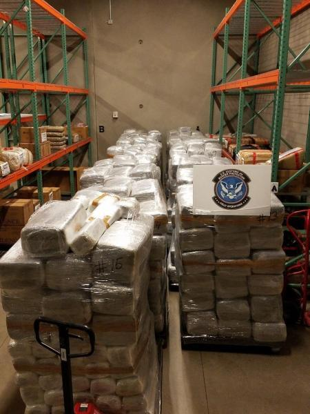 Officers located more than 13,700 pounds of marijuana co-mingled with a shipment of bell peppers
