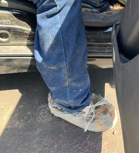 Agents arrested a migrant still wearing carpet booties from crossing illegally into the U.S.