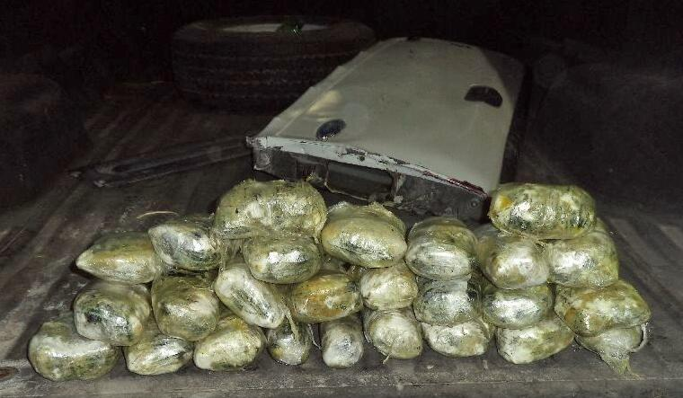 Officers found a combination of meth and heroin within the tailgate of a smuggling vehicle referred for further inspection of meth, by a CBP narcotics detection canine