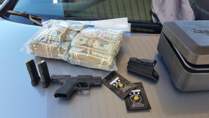 Agents in Blythe, Calif. arrested the driver of a vehicle which was determined to contain a loaded firearm as well as drug and cash