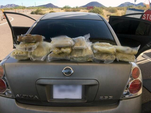 Agents seized 35 pounds of meth from inside of a smuggling vehicle stopped near Gila Bend