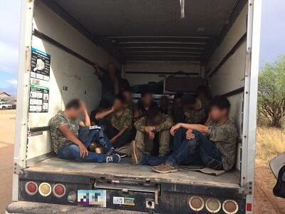 Agents stopped a box truck & found illegal aliens inside the back