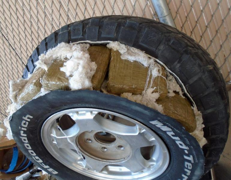 The tires of a smuggling vehicle were found to contain packages of marijuana, by CBP officers at the Port of Douglas