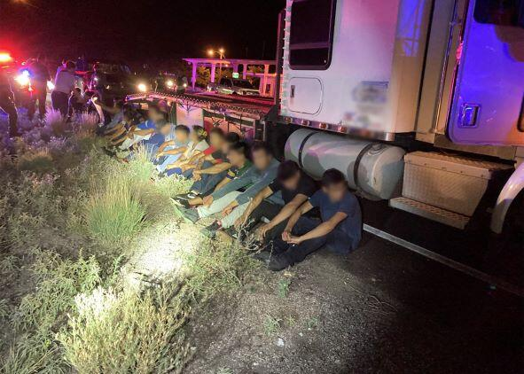 Agents arrested two teens who were attempting to smuggle nearly 2 dozen illegal aliens