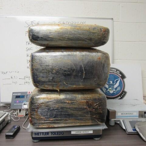Officers removed more than 200 pounds of marijuana from inside of an auxiliary fuel tank of a smuggling vehicle