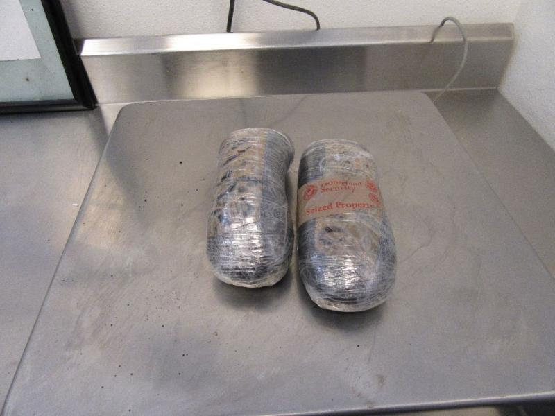 A CBP narcotics detection canine alerted officers to the presence of heroin beneath the woman's clothing