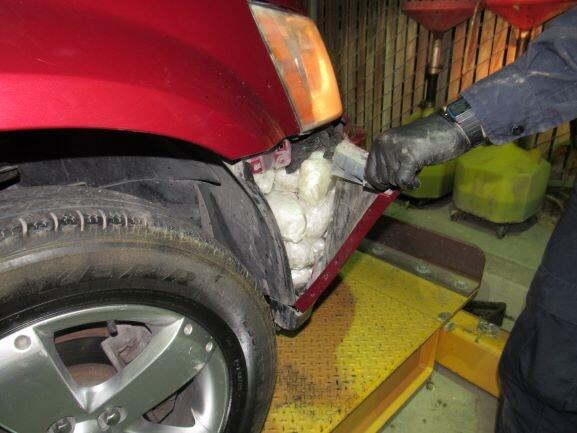 CBP officers discovered methamphetamine hidden in the fender of this vehicle after a K-9 alert.