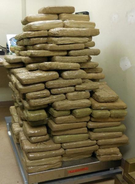 A total of 249 packages of marijuana (275 pounds) were removed from a smuggling vehicle by officers at the Port of Douglas