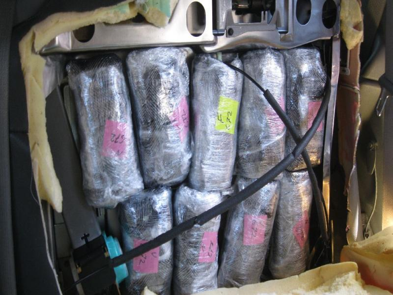 Officers at the Mariposa crossing seized more than 38 pounds of meth on Sunday, from within a smuggling vehicle.
