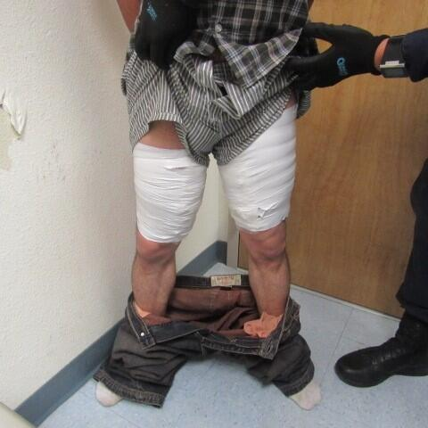 A search of a subject disclosed he had taped packages of meth around his thighs