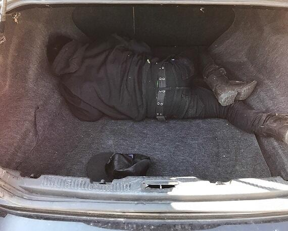 Agents located an illegal alien in the trunk of a vehicle stopped at an immigration checkpoint