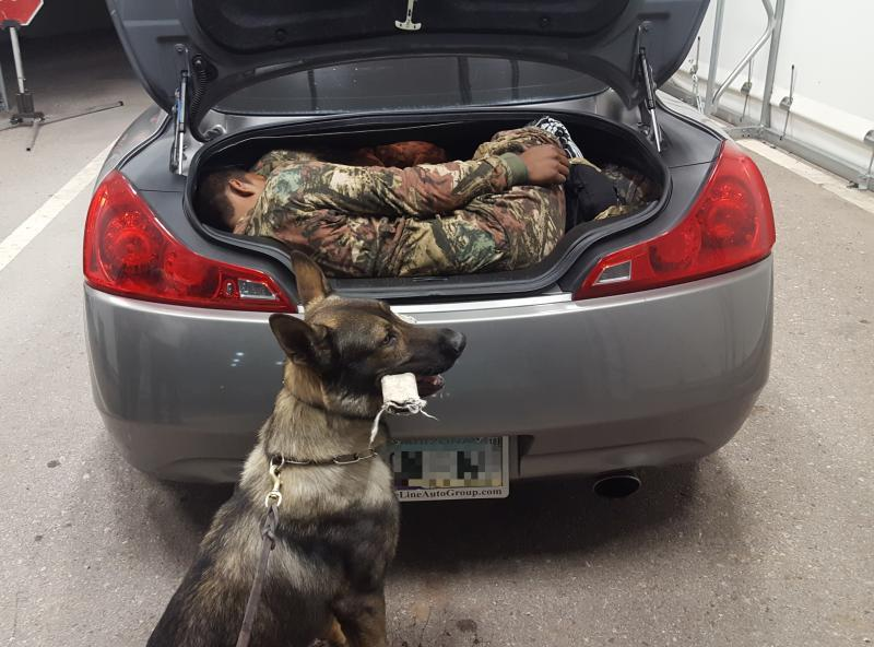 Agents at the SR90 immigration checkpoint discovered two illegal aliens inside of the trunk of a vehicle