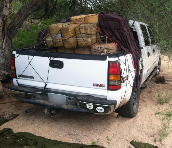 Vehicle used in the attempt to smuggle bundles of marijuana