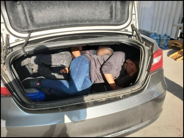 Agents discovered two illegal aliens inside of the trunk of a smuggling vehicle