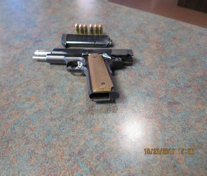 Officers seized a .45 caliber pistol as well as several rounds of ammo and a magazine from 19-year-old who intended to go into Mexico