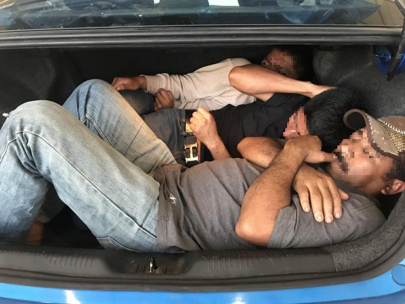 Agents at the I-19 immigration checkpoint discovered three Mexican nationals inside of the trunk of a smuggling vehicle