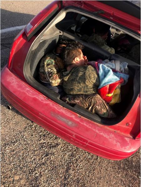 Agents found two illegal aliens inside the trunk of a smuggling vehicle