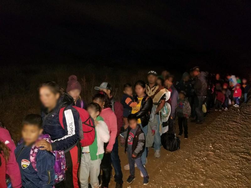 Large groups made up of family units surrendered to agents near Sasabe on Saturday evening.