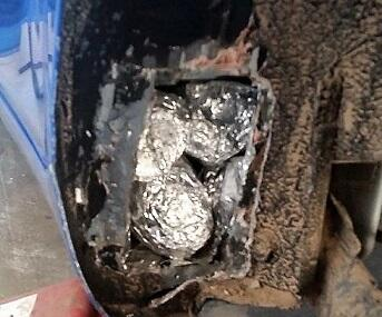 Officers seized a combination of meth and heroin from the smuggling vehicle's heater cool