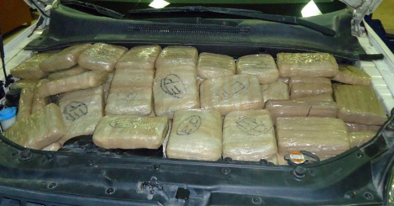 Officers at the Port of Douglas seized more than 150 packages of marijuand from throughout a smuggling vehicle