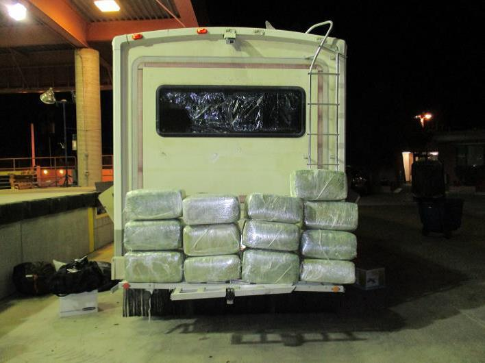 Officers seized close to 344 pounds of marijuana from inside of an RV