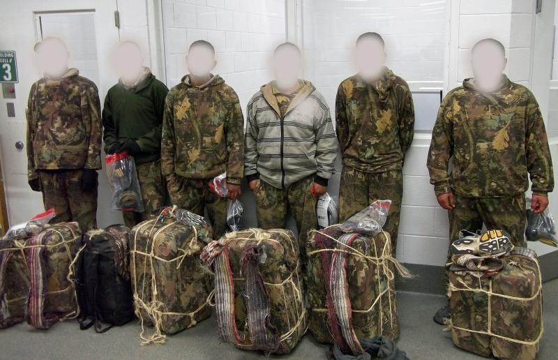 Border Patrol agents and pilots from the Yuma Branch of Air and Marine Operations arrested six marijuana backpackers on Monday, December 21