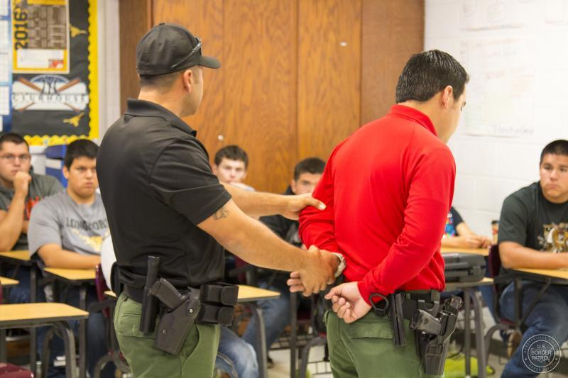 Laredo Sector Border Patrol agents  provide a Classroom 2-Career  ​​​​​​​Presentation to local students.