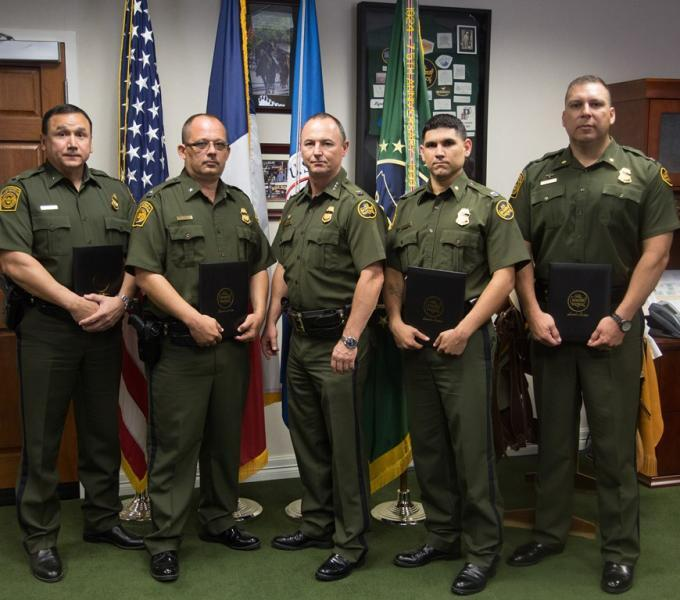 (Left to Right): Deputy Chief Marcos Garcia, Deputy Patrol Agent in Charge Thomas A. Kuhns, Chief Patrol Agent Robert L. Harris, Special Operations Supervisor Lonnie Rodriguez, Special Operations Supervisor Thomas Diaz-De Leon.