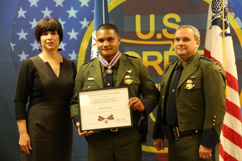 Border Patrol Agent Julian T. LiDrazzah receives the Law Enforcement Congressional Badge of Bravery, during a ceremony at the Del Rio Border Patrol Sector Headquarters.