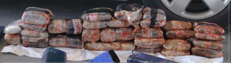 A thorough inspection of the vehicle revealed 34 packages of crystal methamphetamine.