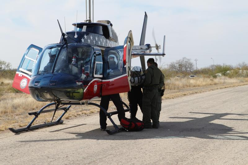 Del Rio Sector BORSTAR agents practice medical air evacuation procedures during a recent training session.