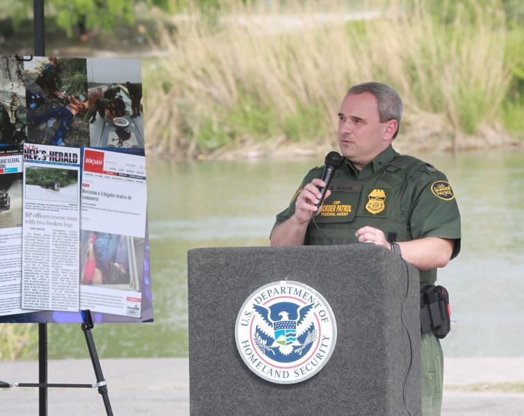 Dep. Chief Patrol Agent Matthew J. Hudak, Del Rio Sector, speaks on the dangers of crossing the border illegally.